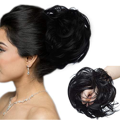Große Haarteil Haargummi Extensions Messy Bun Dutt Hochsteckfrisuren Voluminös Haarverlängerung mit Gummiband - 80G Schwarz