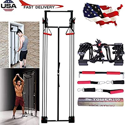 Kusou Door Gym Full Gym Fitness Door Tension Core Abdominal Trainers Resistance Band Exercises Free Straight Bar Strength Training Equipment Weightlifting Total 200 Exercises Home Fitness