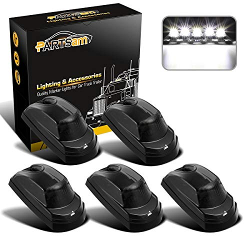 Partsam Smoke Cover Lens Cab Marker Roof Running White LED Top Clearance Lights Assembly Compatible with Ford F250 F350 F450 F550 2017 2018 2019 2020 2021 Super Duty 264343BK (Pack of 5)