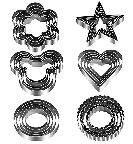 30pcs Cookie Cutters Shapes for Kids Heart Star Round Flower Cookie Cutter for Homemade Bread Mini Holiday Metal Ornament Unique Stainless Steel Cookie Cutter Mold for Adult Home Baking