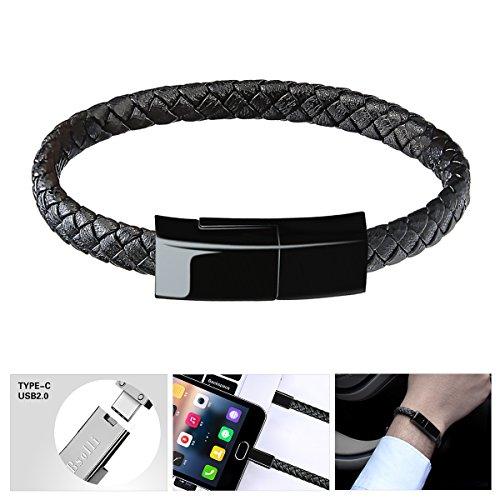 Bsolli USB Typ C Kabel Armband Ladekabel für Samsung S9 / S9 + S8 / S8 + (Schwarz 8,3 Zoll)
