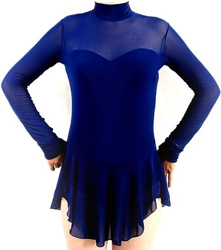 YunNR Robe de Patinage Artistique à Manches Longues pour Femme Classique Danse Classique Gymnastique Envelopper Jupe Collant Haut Collier épissure de Maille Costume De Patinage