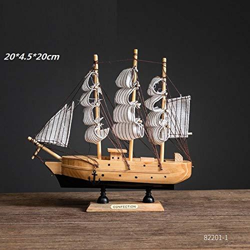 hacpigbb Decoración Creativa Artesanía Modelo De Vela con Red De Pesca Estatua Velero - Una Sección 21Cm