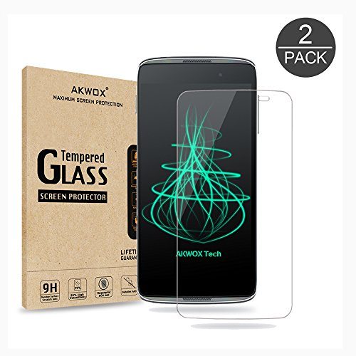(Pack of 2) Glass Screen Protector for Idol 3 5.5inch, Akwox [0.33mm 2.5D High Definition 9H ] Premium Clear Tempered Glass Screen Protector Film for Alcatel OneTouch Idol 3