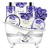 Bath and Body Gift Set - Body & Earth 8 Pcs Bath Spa Gift Sets Lavender&Honey Scent, Includes Bubble Bath, Shower Gel, Soap, Body Lotion, Bath Salt and More, Perfect Gift Basket for Home Relaxation