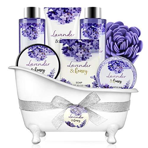 Bade Geschenkset, Body & Earth 8-teiliges Badeset mit Lavendel- und Honigduft - Inklusive Schaumbad, Duschgel, Seife, Körperlotion, Badesalz und vielem Mehr.Perfekt Geburtstagsgeschenk für Frauen