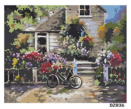 Olieverfschilderij digitaal om zelf te maken fietsendrager muurschilderij op canvas cadeau decoratie thuis muurkunst woonkamer compleet 40 x 50 cm