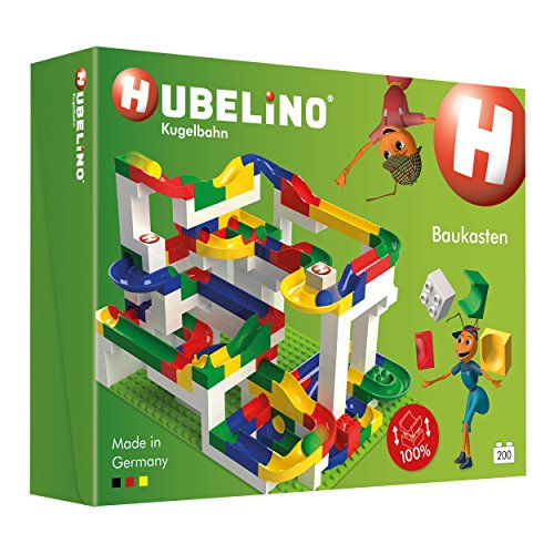 Hubelino 420183 - Kugelbahn - Mega-Baukasten - große Platte & Buch - ab 4 Jahre (100% kompatibel mit Duplo) -...