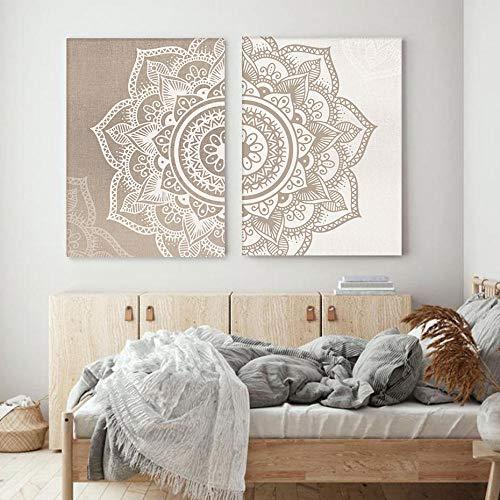 QZROOM Bohemia Mandala Floral Beige Wandkunst Druck Poster Bild Leinwand Malerei Wohnzimmer Home Interior Yoga Raum Dekor-50x70cmx2Pcs-kein Rahmen