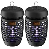BLACK+DECKER Bug Zapper Electric Lantern with Insect Tray, Cleaning Brush, Light Bulb & Waterproof Design for Indoor & Outdoor Flies, Gnats & Mosquitoes Up to 625 Square Feet- 2 Pack