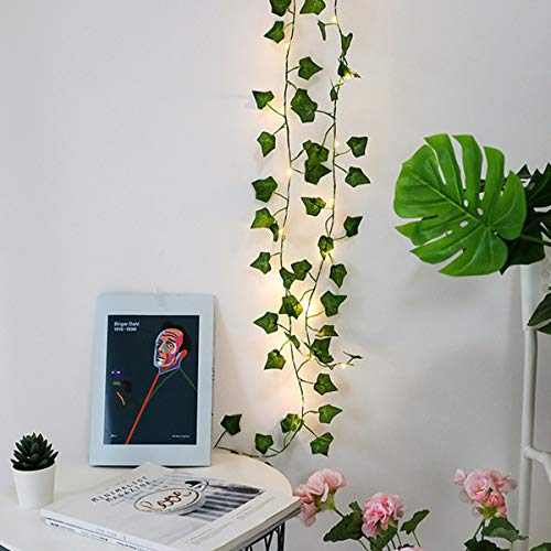 Extra Long 10m 100 LED Ivy Fairy Lights/String Lights/Garland with Lights - Wedding Decorations - AA Battery Powered - Ivy Garland with Lights - Fairy Lights Bedroom - Leaf Fairy Lights