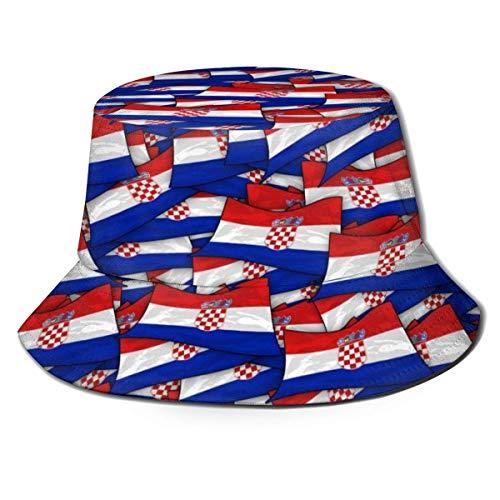 ZDMAHCC Unisex Fischerhut, Kroatien-Flagge, Welle, Collage, wendbar, für Reisen, Strand, Golf, Sonnenhut, Schwarz