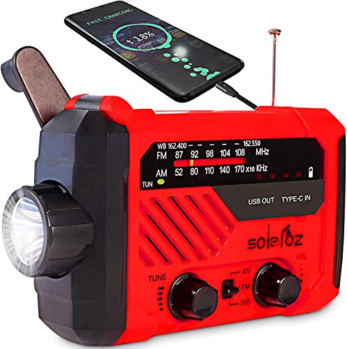 SOLELOZ Emergency Radio Flashlight, Hand Crank and Solar Charge, AM/FM/NOAA Weather Radio,Power Bank Cell Phone Charger,led lamp