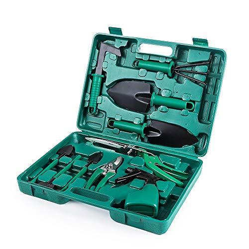 iCorer Gardening Tools Set, 10 Pieces Garden Tools Kit, Including Digging Weeder, Rake, Shovel, Sprayer, Multifunctional Gardening Gifts for Gardeners Men Women, Green