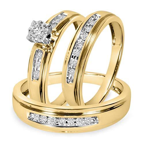 Ani's Juego de anillos de boda de 1/4 quilates para hombre y mujer con diamante redondo transparente D/VVS1 chapado en oro amarillo de 14 quilates, plata 925
