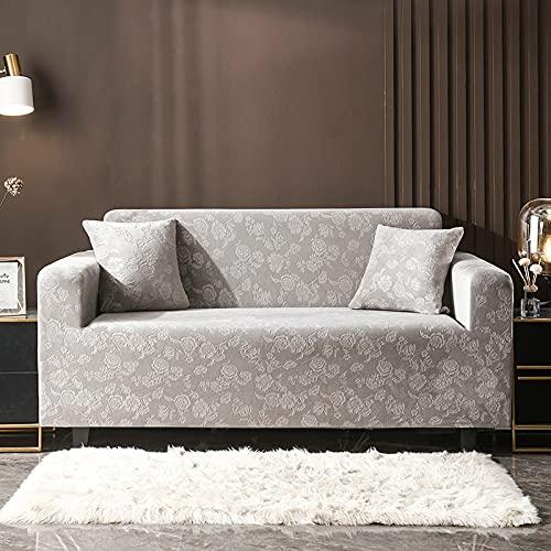 ASCV Einfarbig Plüsch verdicken elastische Sofabezug Universal Sectional Slipcover Stretch Couch Bezug für Wohnzimmer A8 4-Sitzer