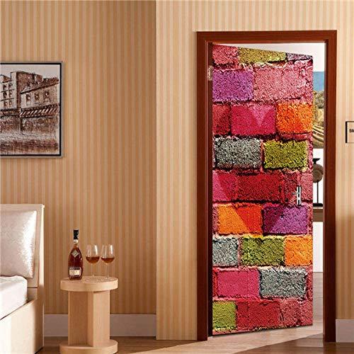 YSJHPC 3D-Türaufkleber-Tür-Wand-Papier-Wandbild, Bunte Dessertkuchenwand, Liebessymbol 90*200CM PVC-wasserdichte selbstklebende -Tür-Wand-Tapete-Kunst-dekorative Wand-Abziehbilder für für heim schlafz