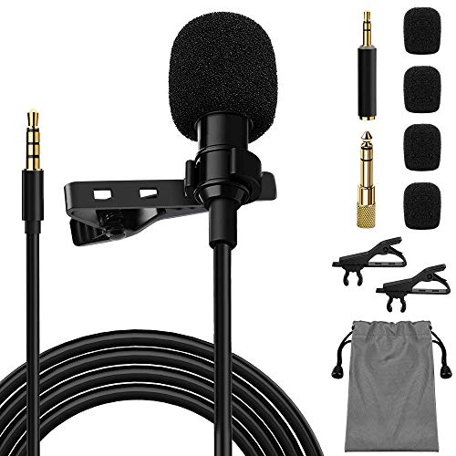 Jetika Lavalier Microphone, Lavalier Lapel Microphone for Computer, Android, DSLR, Camcorder, Professional Omnidirectional Mic for Vlogger, YouTube, Interview, Video, Recording, Podcast
