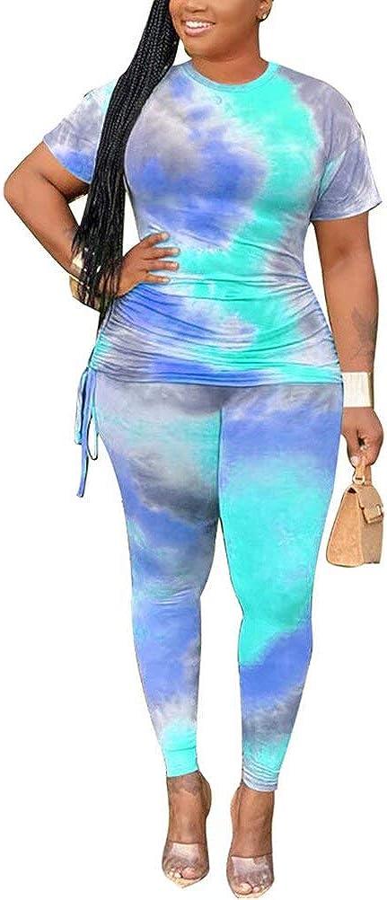 Bodycom Short Tie Dye Tracksuit Summer Oversized T Shirts Top Plus Size 2 Piece Shorts Set