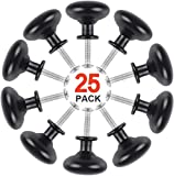 Give Me Black Mushroom Cabinet Knob with Screws for Home Kitchen Wardrobe Cupboard - 1-1/4' Diameter - 25 Pack