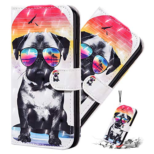 IMEIKONST 3D Funda para Huawei Honor 8A,Premium PU Cuero Bookstyle Tarjetas Billetera, Cierre Magnético Flip Stand Shockproof Funda para Huawei Y6 2019 Sunglasses Dog CYA