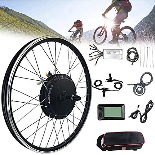 XYEJL Kit Conversión Bicicleta Eléctrica, 48 V 1000 W Motor Rueda Buje Delantero/Trasero Bicicleta Eléctrica Kit Conversión con Controlador Medidor LCD para Bicicleta Montaña,FrontWheel-24inch