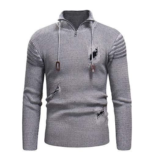 Suéter Rasgado para Hombre, Jersey con Cremallera, Cuello Alto, Ajustado, otoño e Invierno, cálido, Manga Larga, Jersey de Punto Fino Medium