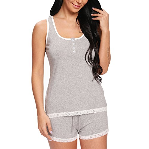 nine bull Women's Cotton Pajama Tank and Shorts Set Sexy Sleeveless Sleepwear