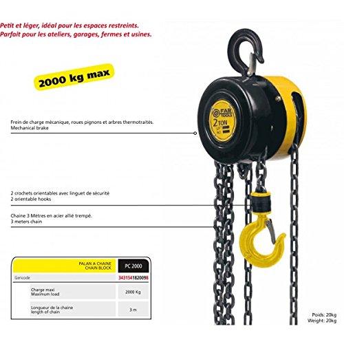 Fartools CH 2T Palan à chaine charge maxi 2000 kg Noir