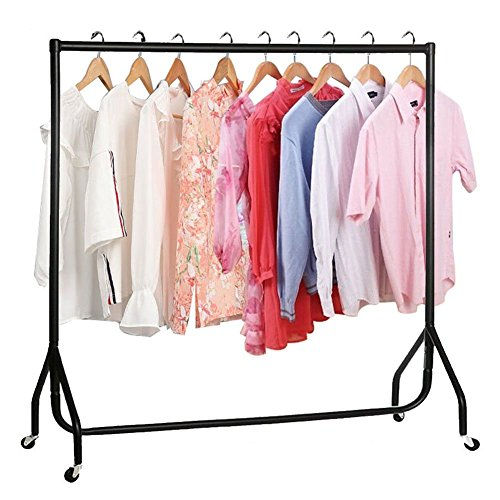 Zerone Garment Clothes Rail, Portable Garment Display Rail Super Heavy Duty Hanging Clothes Rack on Wheel for Home Shop Display 152.5 x 149.5cm (5FT)