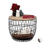 Relaxdays, Nero tavolino con cuccia, per gatti & cani piccoli, 2 in 1, cesta a rete con cuscino, HxD 40x50cm, pannelli MDF, metallo, cotone, 1 Pz