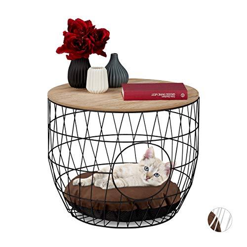 Relaxdays Korbtisch mit Tierhöhle, Katzen & kleine Hunde, 2in1 Drahtkorb Beistelltisch mit Kissen, HxD 40x50cm, schwarz