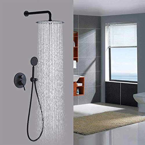Artbath Black Shower System,Shower Faucet Set with 12 inch Rain Shower Head and Handheld Shower Wall Mounted Shower Set Black (Contain Shower Faucet Rough-In Mixer Valve)