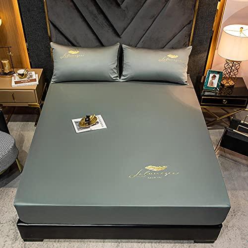 YFGY Sábana Bajera Ajustable elástica para Cama King 180x200cm, Funda de colchón de Colcha cepillada de Color sólido de algodón, Juego de Funda de Almohada Apartamentos de Dormitorio Gris Verde 3PCS