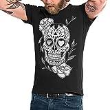 VIENTO Mexican Skull Camiseta para Hombre (Negro, Medium)