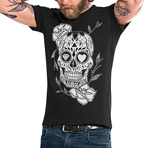 VIENTO Mexican Skull Camiseta para Hombre (Negro, Small)