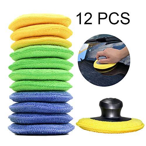Applikator Pads, 12 Stück Mikrofaser Handpolierschwamm mit Finger-Pocket-Applikator für Autos, Wachsapplikator, Wachs, Versiegelung, Glasschaum-Schwamm