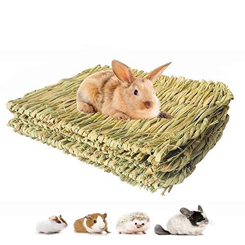 PIVBY 3PCS Woven Pet Bed Rabbit Grass Mat,Bunny Bedding Nest Chew Play Toys...