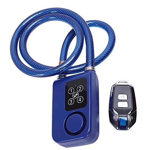 Z.L.F.J.P Accesorios para Bicicletas Bicicleta de Bloqueo antirrobo de Alarma inalámbrico de Control Remoto de Bloqueo de Seguridad LED de 4 dígitos (Color : Azul, Size : Gratis)
