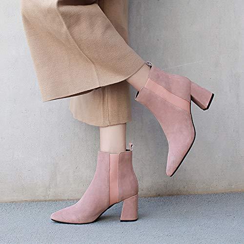 Shukun enkellaarsjes herfst en winter puntige matte laarzen kinderlaarzen Martin laarzen dik met kaal laarzen hoge hak shorts en enkellaarzen