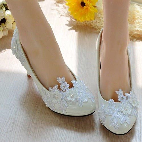 JINGXINSTORE Pearl blanc Lace chaussures mariée chaussures de mariage à talons hauts appartemente-forme