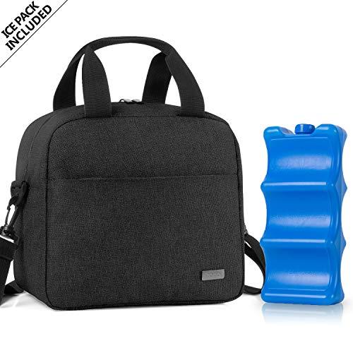 Teamoy Kühltasche für 6 Milchflasche (bis zu 270 ml), Isolierte Flaschenhalter mit Kühlelement für Babyflaschen, Muttermilch Kühlbox für Unterwegs, Transport, Arbeit, Reise, Schwarz