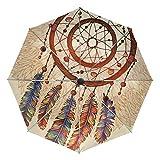 Dreamcatcher - Sombrilla de lluvia con piedras preciosas, resistente al viento, para coche, con cierre fuerte, duradera, compacto, protección UV, portátil, ligera y fácil de transportar