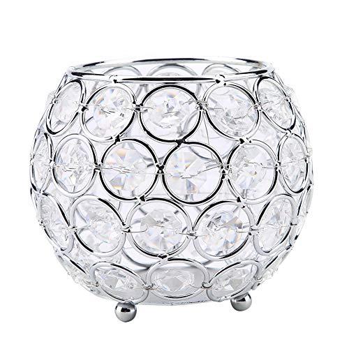 KEYREN Candelabro de Cristal Candelabros votivos de Plata Dorada Candelabros para Bodas de Navidad con diseño Especial de Base Redonda(Plata)