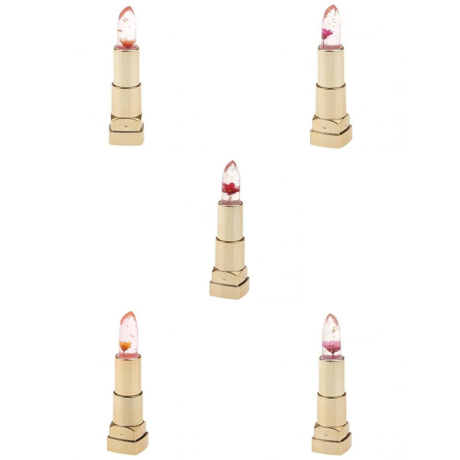 マダムさわやか豪華なPerfeclan リップスティック 口紅 透明 色変化 お花 リップグロス 保湿 防水 持久 おしゃれ 3個入り - #1
