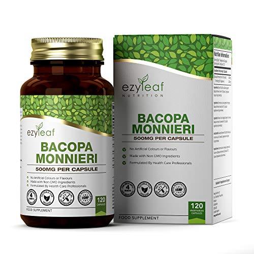 Ezyleaf Bacopa Monnieri 500mg Supplément | 120 Gélules Végétaliens | Nootropique | Fabriqué au Royaume-Uni | Sans OGM | Sans Gluten ou Allergène | Ni Couleur Artificielle, Ni Saveurs
