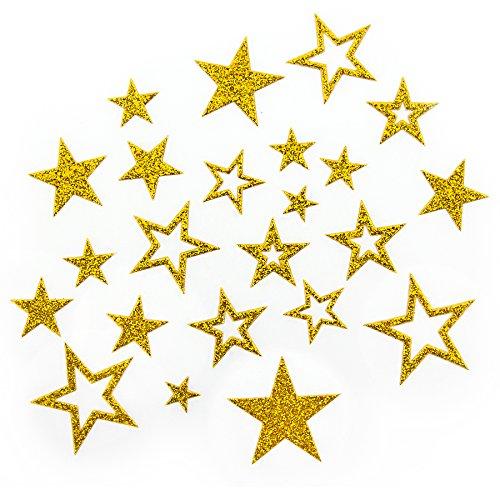 Oblique-Unique Sternen Sticker in Gold oder Silber - Glitzernde Funkelnde Sterne (Gold)