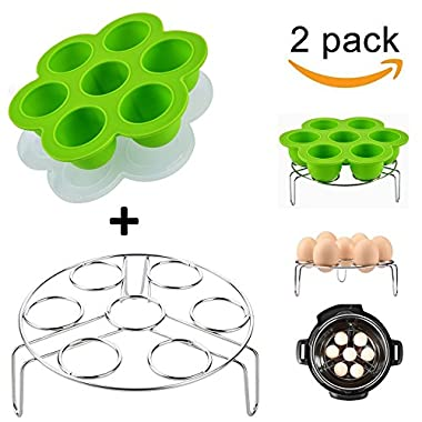 Lakatay One Green Silicone Egg Bites Molds with One Stainless Steel Egg Steamer Rack for Instant Pot Reusable Storage Container ( 2 Pieces )