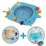 LUDI - Piscine pour bébé à la plage. Dès 10 mois. Inclus 9 jouets de plages. Structure pop-up légère, se plie et se range facilement. Dimensions : 72 x 72 x 16 cm - réf. 2202