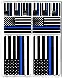 Biomar Labs® 10 x Vinyl Aufkleber Autoaufkleber Stickers Fahne Flagge USA Amerika America Amerikanische Thin Blue/Blau Line Dünne Linie Auto Moto Motorrad Fahrrad Scooter Fenster D 37